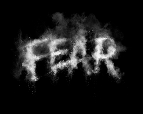 Fear typography in chalk dust